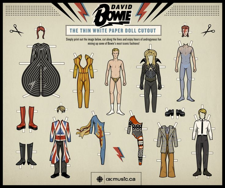 Jan. 8, is David Bowie's 66th birthday. To mark the Thin White Duke's birthday, his newly announced album, and his sartorial sense, CBC Music has assembled a birthday gift — for you.    Behold, the DIY David Bowie paper doll. (Illustration and design by Heather Collett/CBC Music)