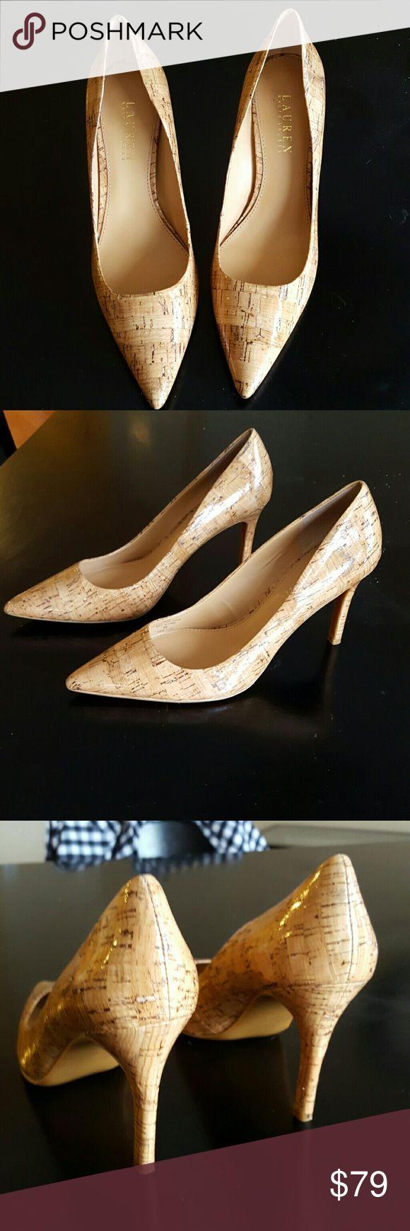 Lauren by RALPH LAUREN Heels. Size 9 Patent leather. Pointed toes. 4 in. Faux cork design. Worn once.  Beautiful. Ralph Lauren Shoes Heels