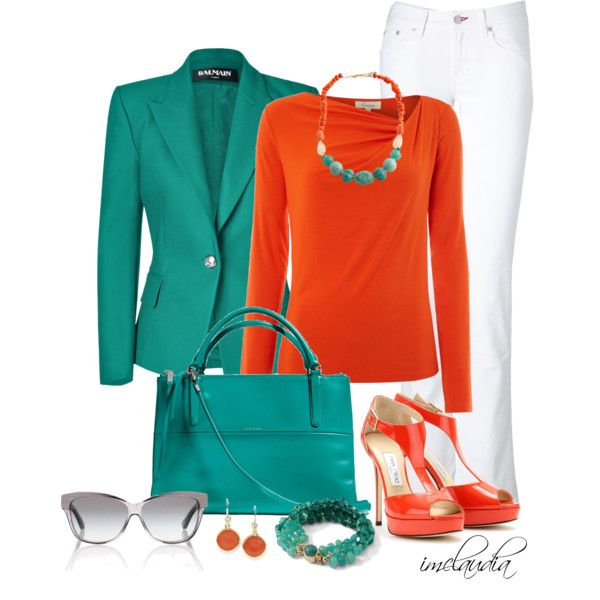 Turquoise Blazer with White Jeans, created by imclaudia-1 on Polyvore