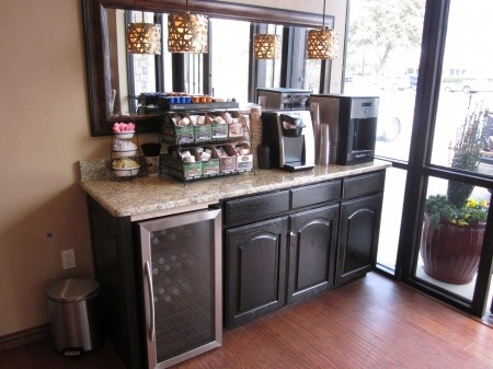 Stylish tea point with white worktop and high back for ...