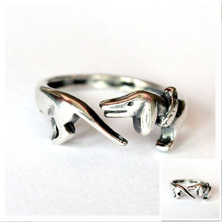 Retail oude zilveren Teckels ring Handgemaakte retro animal ring hond gedenkteken