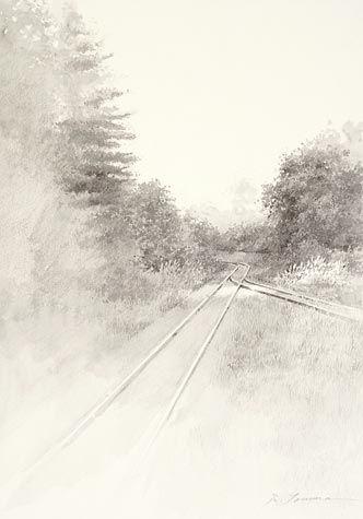 Shigeki Tomura. Miyako, Autumn, 2013. Watercolor. 13 x 9 1/2 inches.