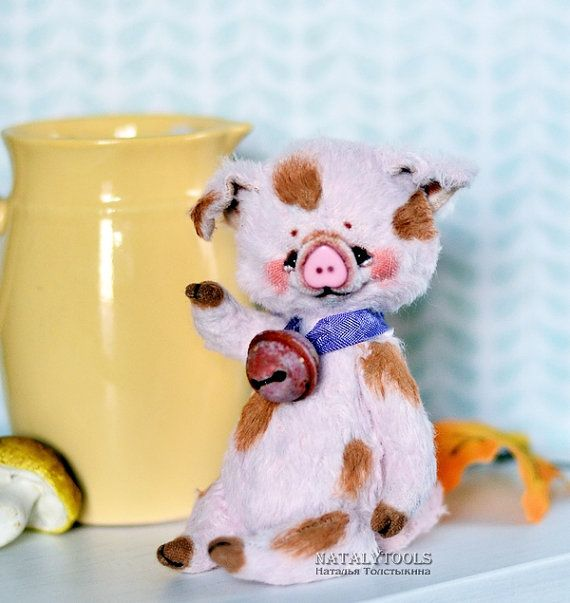 Pig toy Pom-Pom Artist Teddy piglet piggy bear OOAK от NatalyTools