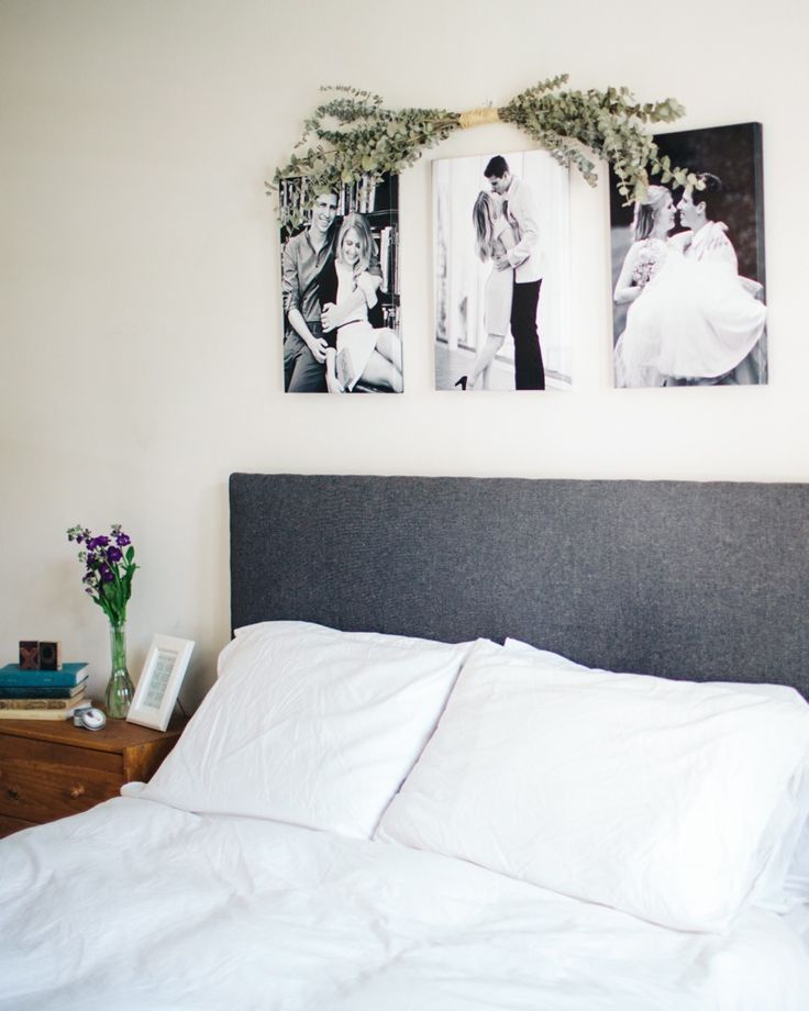 Pictures / canvases above bed frame | Hannah Theisen's Saint Paul, MN Home Tour  #theeverygirl