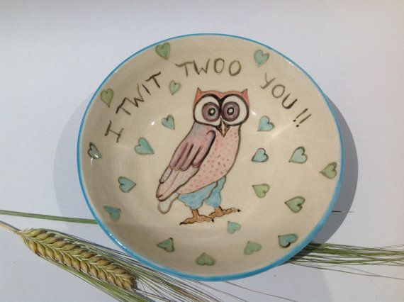 Ring Dish Soap Dish hand painted owls Gift by REDceramicsandWeaves #Dorsetteam