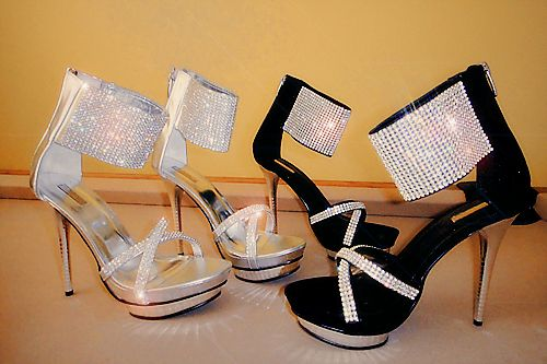 Silver and black high prom shoes 2014 with silver rhinestone embellished ankle strap
