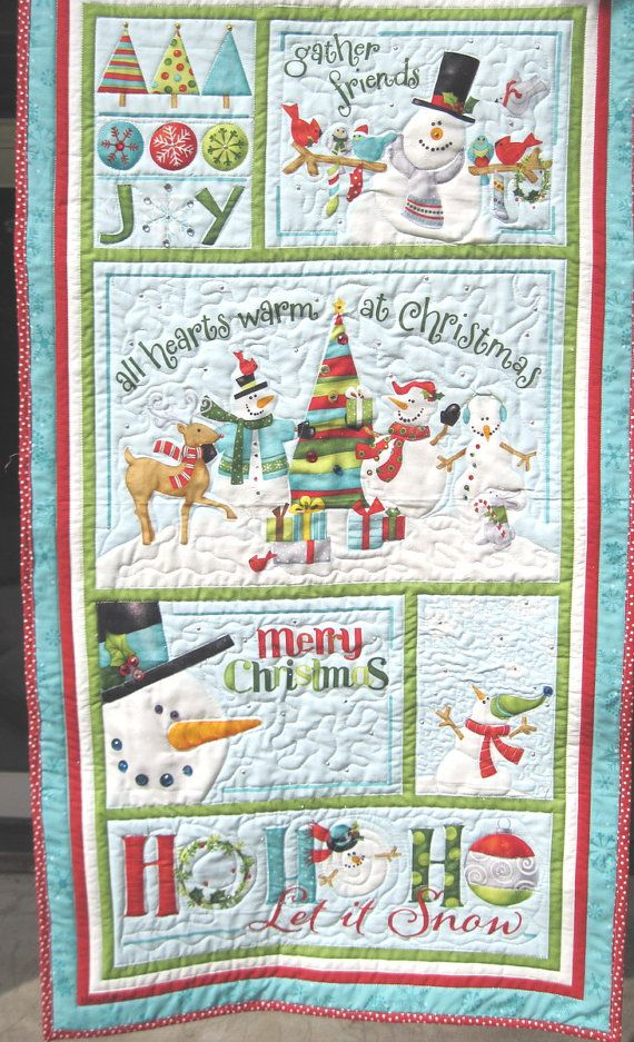 Quilted Christmas Wall Hanging/ Snowman  Door by KellettKreations, $39.00