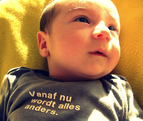 "My new addition :) My Son Gustavo 2 months old    his shirt says in dutch : ""since now all will be different"" :) for sure it is !!!! hahhaha i don't sleep aanymore"