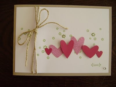 Hearts w splatter of tiny stamped flowers, tiny tag