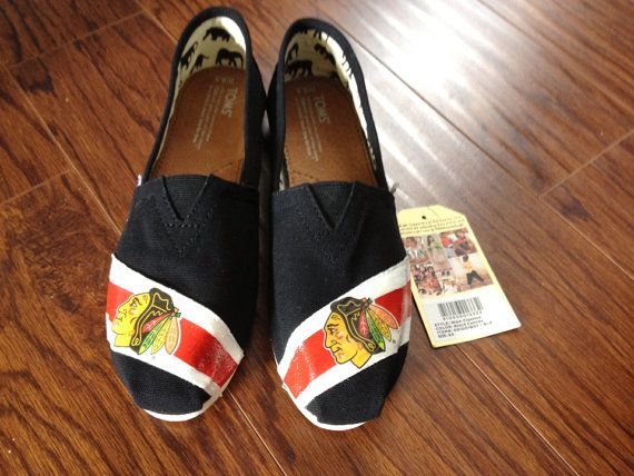 Custom decorated Toms with Chicago Blackhawk design on Etsy, $100.00