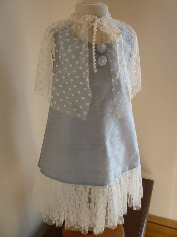 Silver and Ivory Silk Bridesmaids Dress  Girls by AnnaandAlex, £120.00