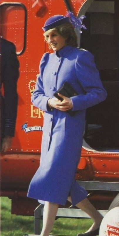 March 9, 1984:  Princess Diana arrives by helicopter to visit the Sue Ryder Home For Cancer Sufferers in Leckhampton, Cheltenham, Gloucestershire.