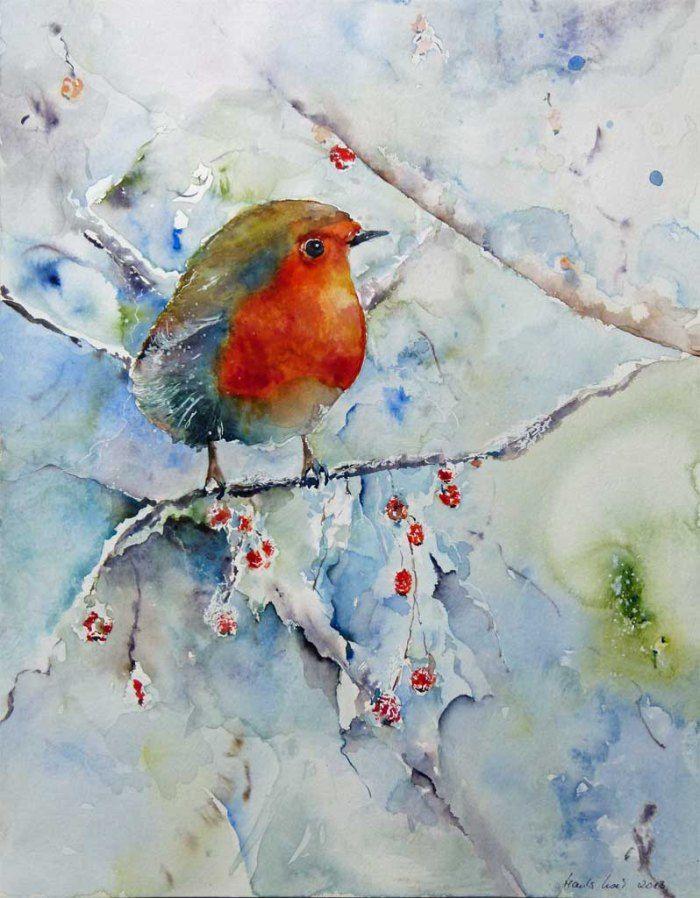 Stunde der Wintervögel in Aquarell | Noch kein Frühling in Sicht (c) Aquarell mit Rotkehlchen von Hanka Koebsch
