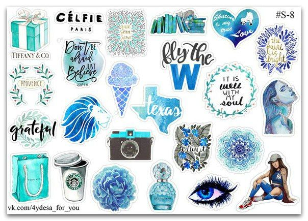 Tumblr blue gift color sticker sheet| Planner diary Stickers | John Green Okay? Okay. Cigarette pack | Kawaii cute | TIFFANY | by topstickerdesigns on Etsy