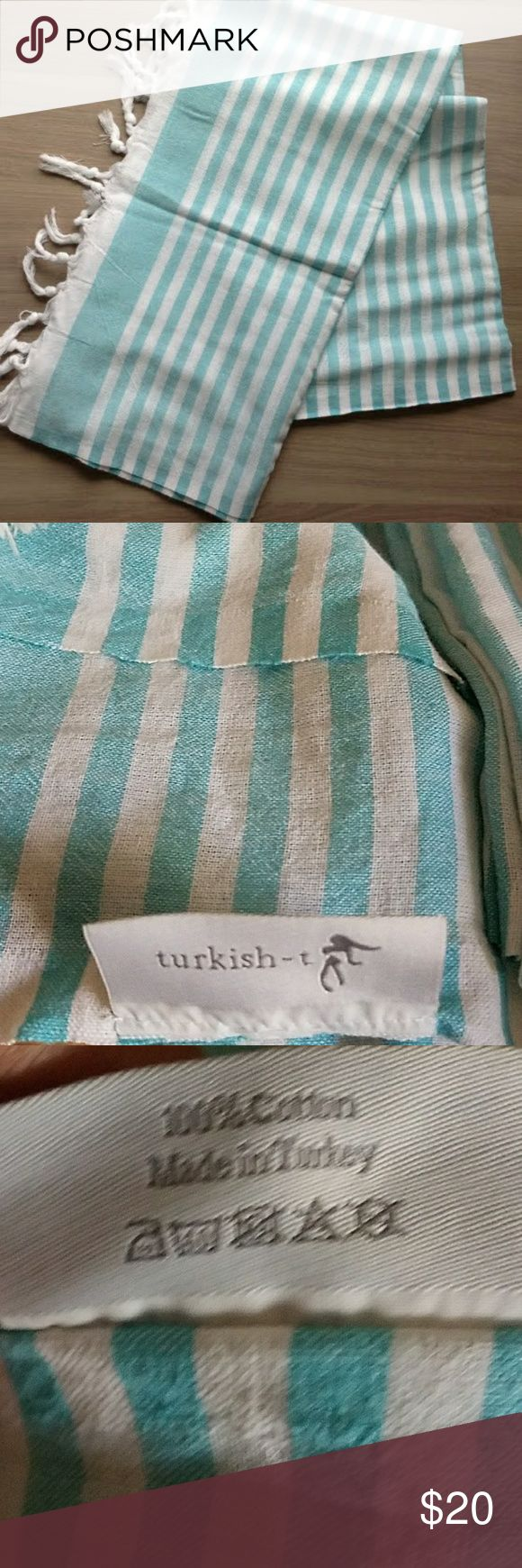 """Last chance! Turkish T Turquoise Beach Towel Gently used! Turkish T Beach Towel  This Turkish-T towel acts as a lightweight beach towel by day and as a glam wrap by night. It's loomed from the world's finest cotton, so trade in your overused beach towel for this chic alternative.   -100% cotton -approximately 68"""" x 38"""" Turkish T Other"""