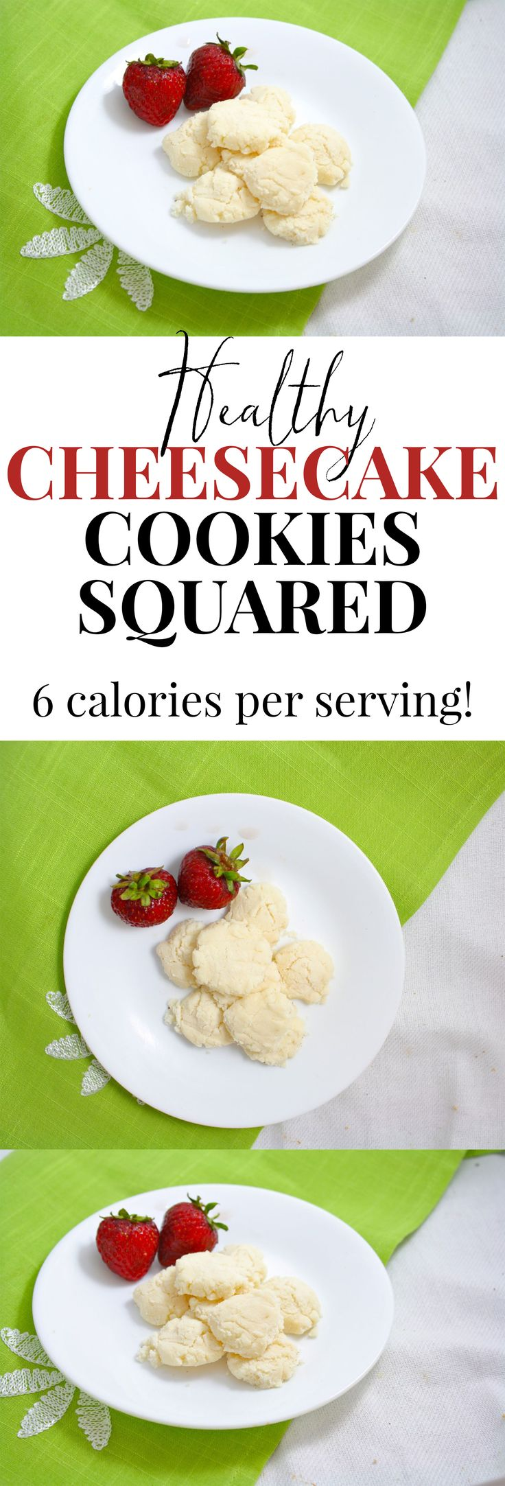 Healthy cheesecake cookies!! Only 6 calories each, vegan, gluten free and can be made in either the microwave or the oven!