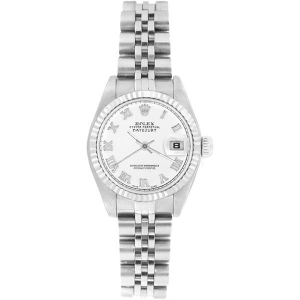 Pre-owned Rolex Women's 69174 Datejust Jubilee Bracelet Roman Watch (5,090 CAD) ❤ liked on Polyvore featuring jewelry, watches, bracelets, rolex watches, white wrist watch, 18k jewelry, mint jewelry and rolex jewelry