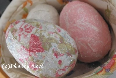 The Shabby Nest: Affordable and Fun Spring Decor  modge podge eggs (over plastic)