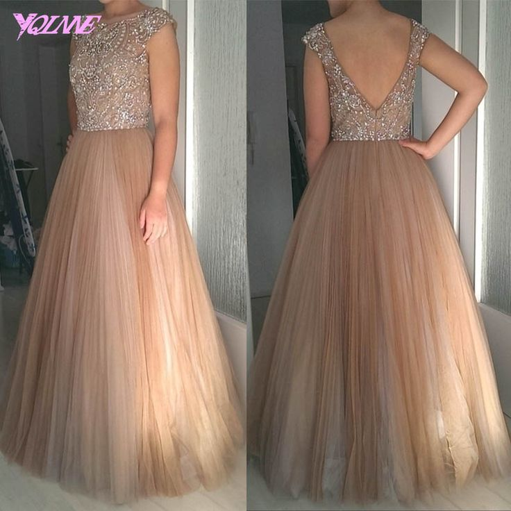 Prom Dresses Evening Dress,Crystals Prom Dress,Beaded Prom Dress,Tulle Dresses,Brown Prom Dresses,Prom Gown - Thumbnail 3