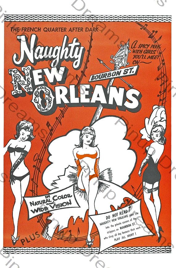 Vintage Burlesque Poster Naughty New Orleans by VintagePinupDreams, £5.99