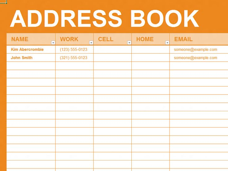 templates for address books