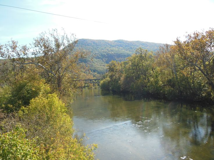 The North Fork of the Shenandoah River where Carrie Ann falls from a bridge and is ultimately apprehended by the Union Army in 1864.: