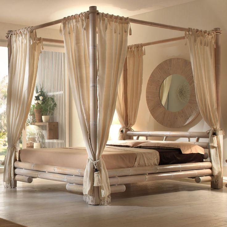 Himmelbett Bambusbett TABANAN 140 x 200 Bett mit Himmel in weiß Singlebett