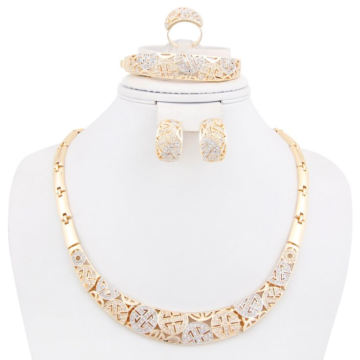 Hot Fashion african bridal Wedding costume Jewelry sets for Women 18K Gold plated Crystal Rhinestone Necklace set Dressional #dressional