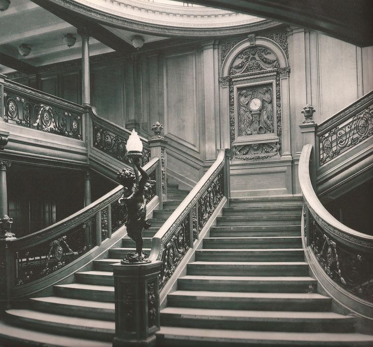 Titanic - Grand staircase, the cherub was actually salvaged.  Now there is a gaping hole in the line from where all the wood has rotted away.