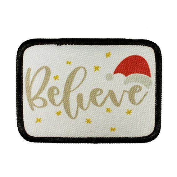 Believe Christmas Patch Magic Santa Hat Stars Dye Sublimation Etsy In 2021 Patch Magic Cool Patches Iron On Applique