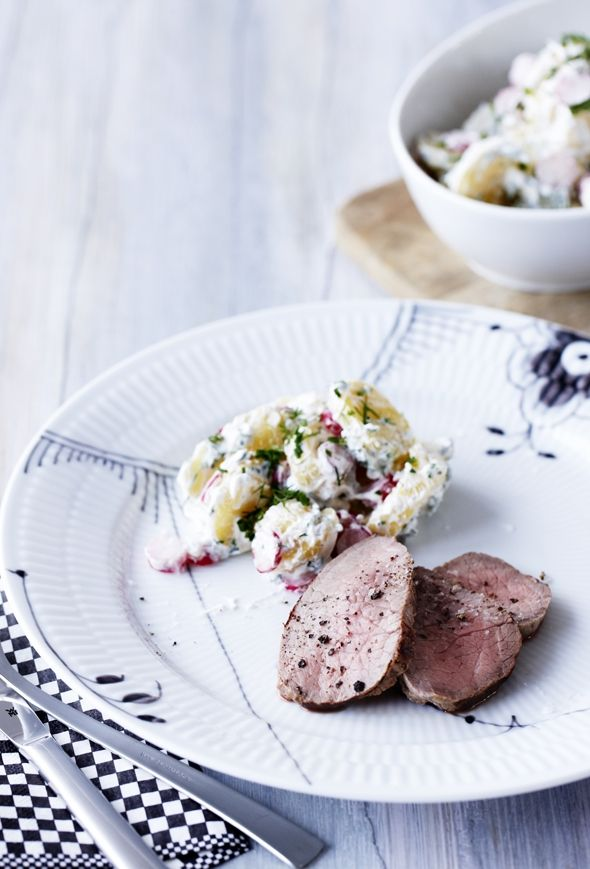 Opskrift på nem kartoffelsalat og roastbeef