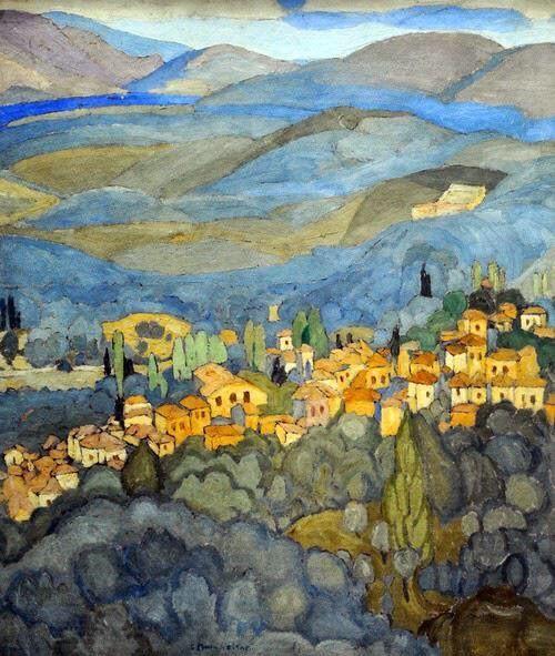 Mytilene Landscape dipinto di Spyros Papaloukas (1892-1957)