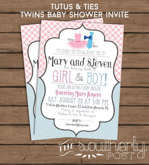 Boy Girl Twins Baby Shower Invitation - Tutus And Ties -3233