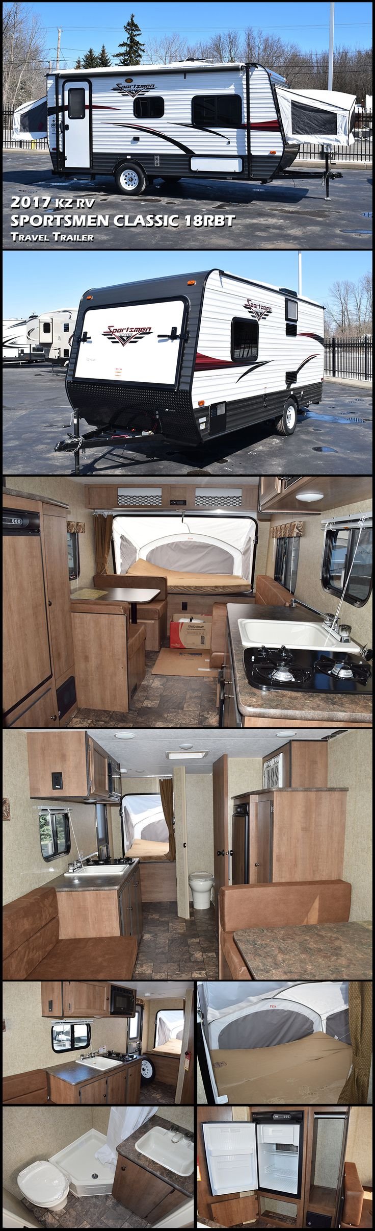 This 2017 KZ RV SPREE ESCAPE E18RBT expandable trailer offers front and rear tent beds, can sleep up to 8 and with its light-weight design it can even be towed by a minivan! The kitchen and complete bath make extended get-a-ways seem just like home.