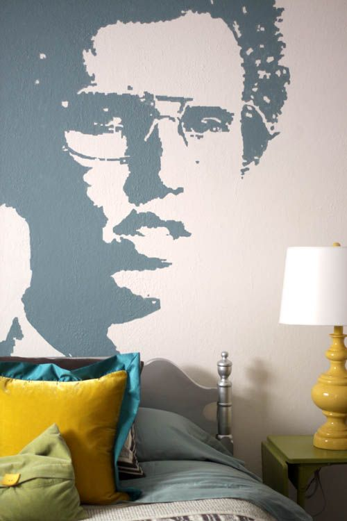 DIY wall mural. Paint your favorite image on the wall using a projector. So easy! Even for non-artists. We painted Napoleon Dynamite on my tween's bedroom wall.