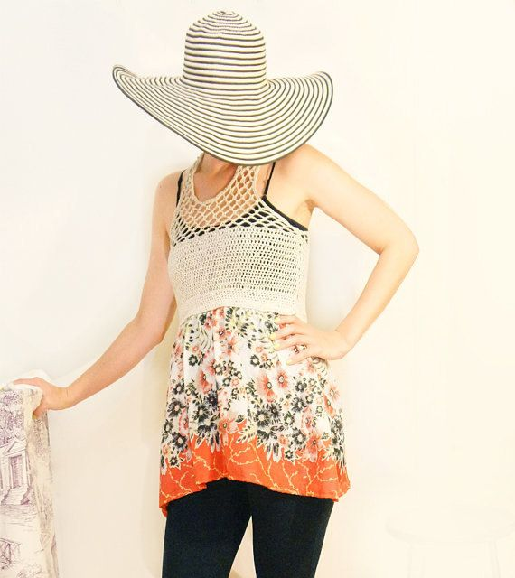 Crochet mini dress. floral tunic. beach dress. by DecayCrochet, $60.00
