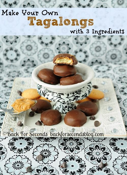 Make Tagalongs with 3 Ingredients!!  BETTER than the Girl Scout version - Seriously!  #Recipe #girlscoutcookie #tagalongs http://backforsecondsblog.com