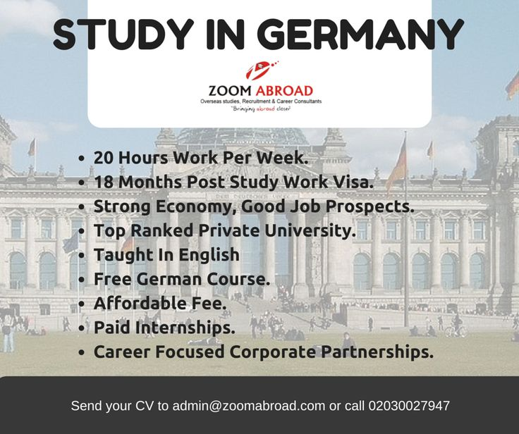 German universities have a quite good network with universities all over the world. Every year thousands of students have the opportunity to go abroad and spend some time in a different country, studying and living. LEARN MORE: www.zoomabroad.com