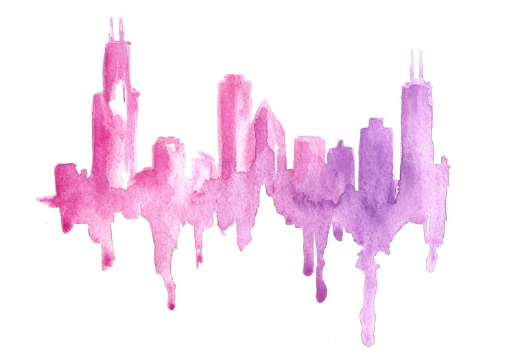 Chicago Skyline Watercolor  Artist Carrie Beth Taylor  www.carriebethtaylor.com