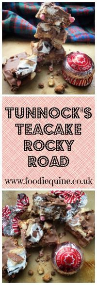 Tunnock's Teacake Rocky Road. Scotland in a Traybake! No bake cake perfect for Burns Night & St Andrew's Day