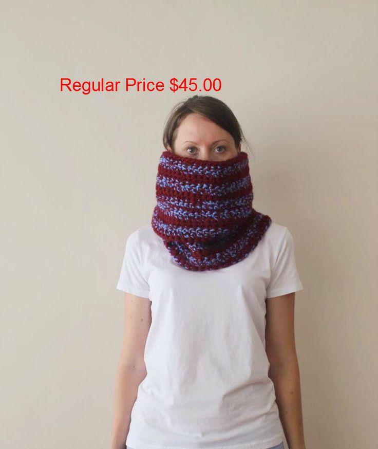 SALE! Chunky Hand Knit Cowl Neckwarmer-Blue Dark Red Crochet Cowl-Loop Scarf-Crochet Colorful Hood-Handmade-Ready To Ship…