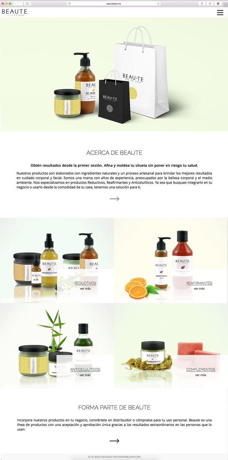 Diseño de sitio web responsivo para Beaute. Landing page que crea una experiencia digital de consumo.