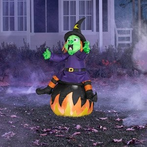 buy for halloween 4 tall airblown inflatable halloween witch yard decoration light up by halloween at the halloween christmas shop - Light Up Halloween Decorations