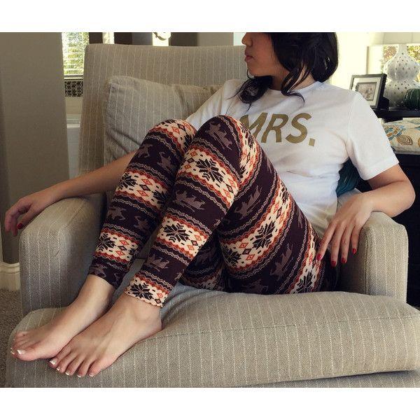 Plus Size Dark Brown Reindeer Aztec Tribal Leggings ($14) ❤ liked on Polyvore featuring pants, leggings, grey, women's clothing, transparent leggings, sheer leggings, plus size tribal leggings, tribal leggings and high waisted leggings