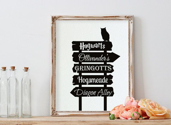 Street sign with Harry Potter places in black and white with silhouette of an owl sitting on it. This poster includes: Hogwarts, Ollivanders,