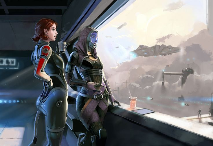 Flawless! Shep's cute little haircut and stance and Tali's face and everythinggggg. This is lovely. #MassEffect #Shepard #TaliZorah