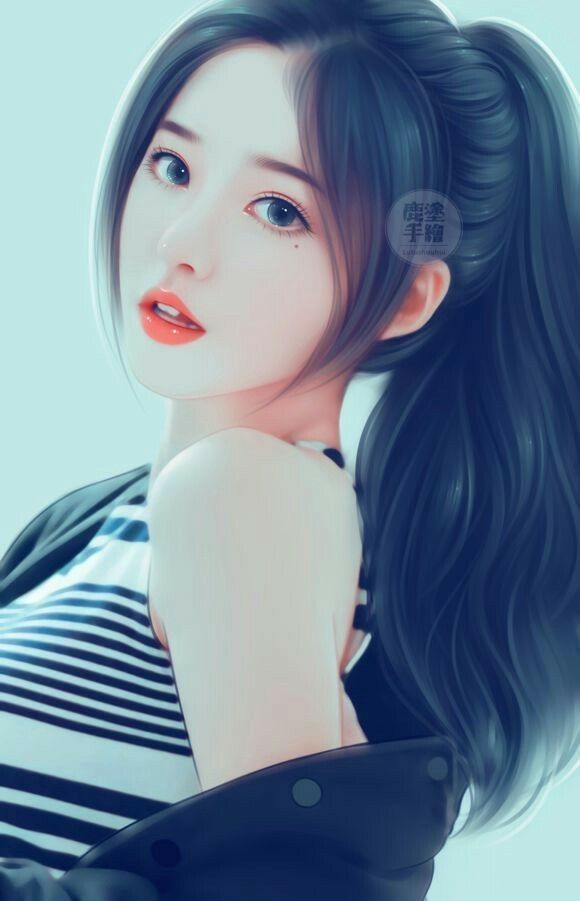 Digital Painting Portrait Desenhos De Meninas Do Anime Garotas Fofas Garotas
