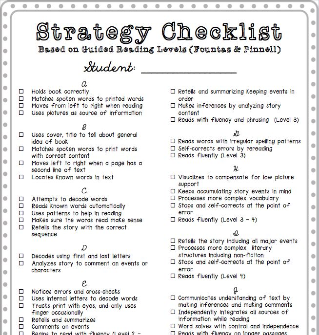 Strategy checklist to use to move your students through guided reading levels (Fountas & Pinnell)