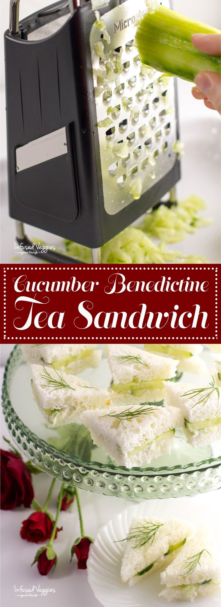 Cucumber benedictine tea sandwiches - a simply delicious appetizer that make the perfect dish for your next get together or party. Plus, they are vegan & gluten free too! Oh so good. infusedveggies.com