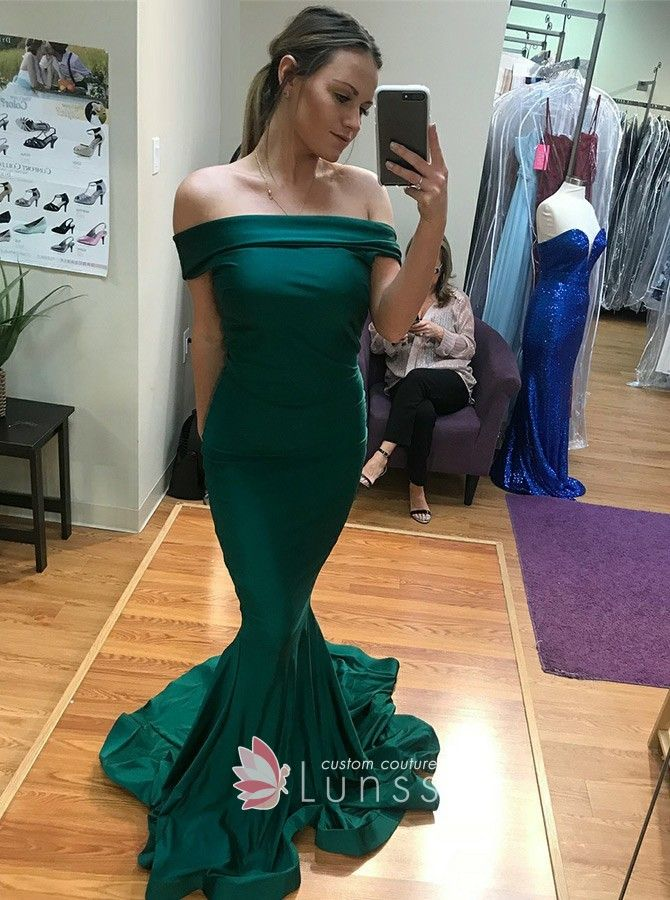 33b81179df Dark green satin mermaid prom gown with flounced court train.  Off-the-shoulder emerald satin long prom gown.